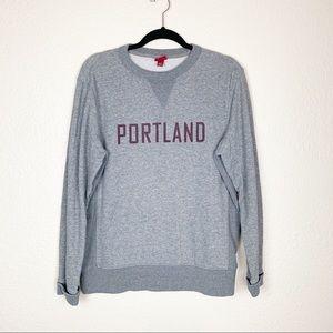 Gray and maroon Portland sweatshirt
